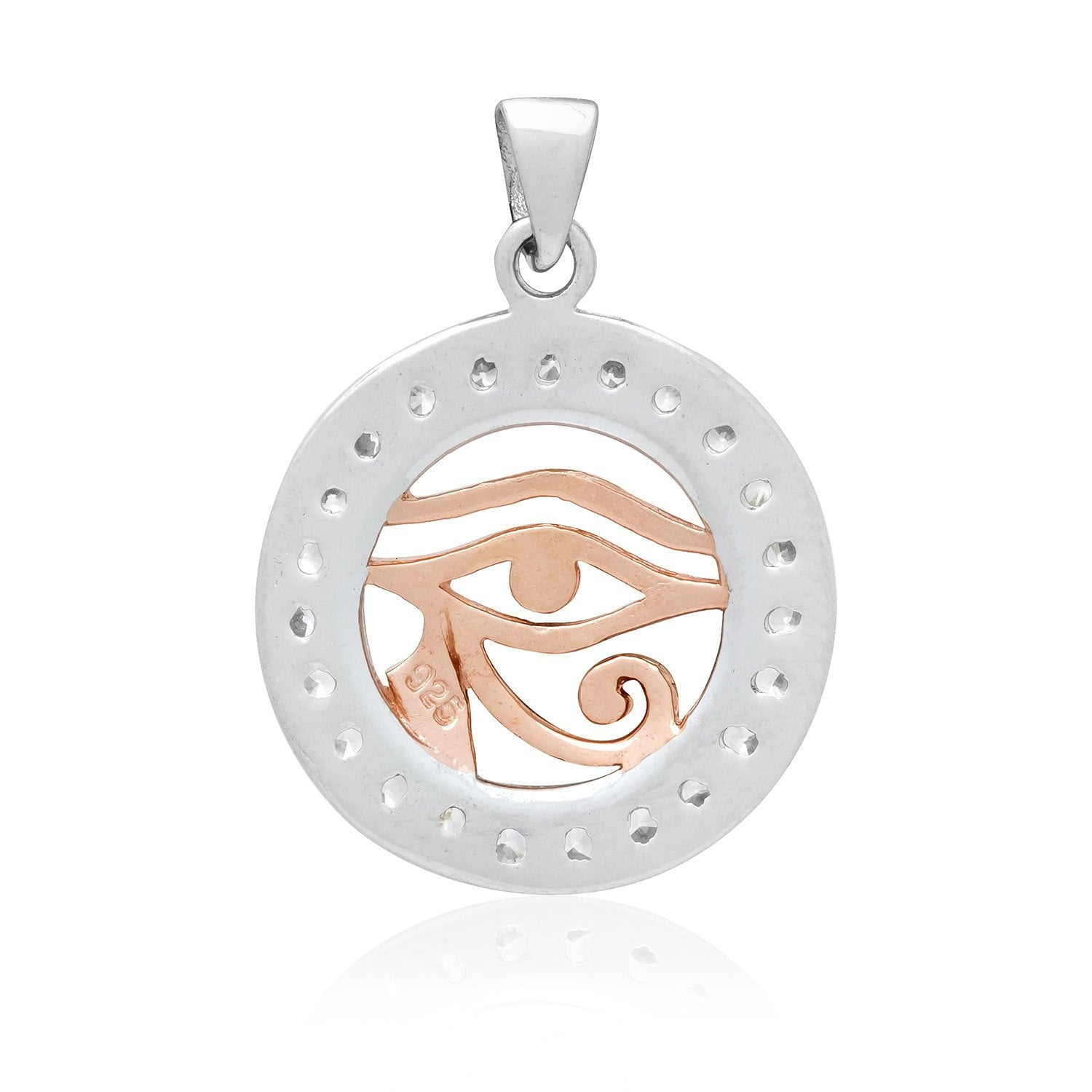 Sterling Silver with Rose Gold Egyptian Eye of Horus and Cubic Zirconia Charm