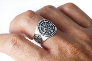 925 Sterling Silver Sigil of Baphomet  Inverted Pentagram Satanic Ring - SilverMania925