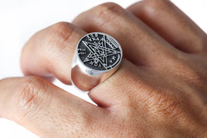 925 Sterling Silver Tetragrammaton Seal of Solomon Ring