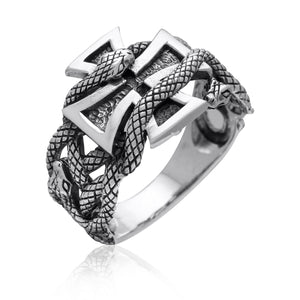 925 Sterling Silver Iron Cross Snake Masonic Biker Ring - SilverMania925