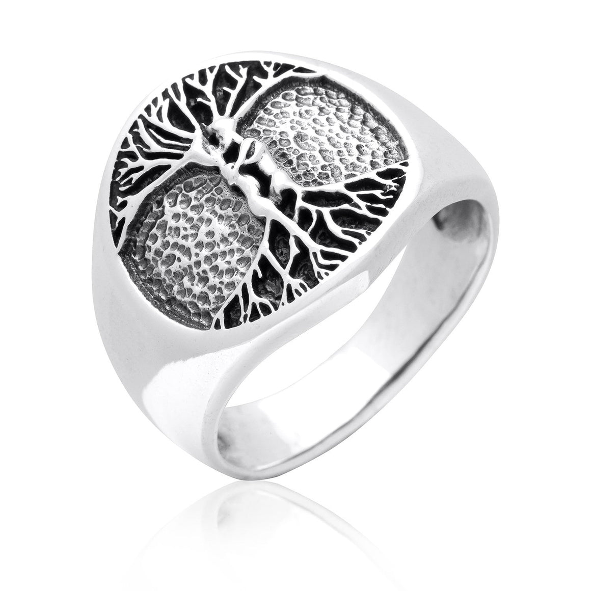 925 Sterling Silver Nude Lovers Embracing Tree of Life Ring - SilverMania925