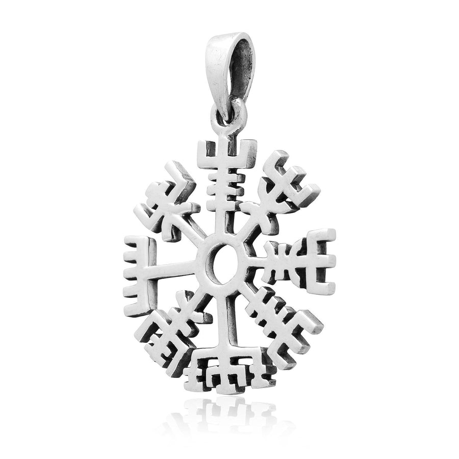 925 Sterling Silver Vegvisir Viking Compass Norse Amulet Pendant - SilverMania925