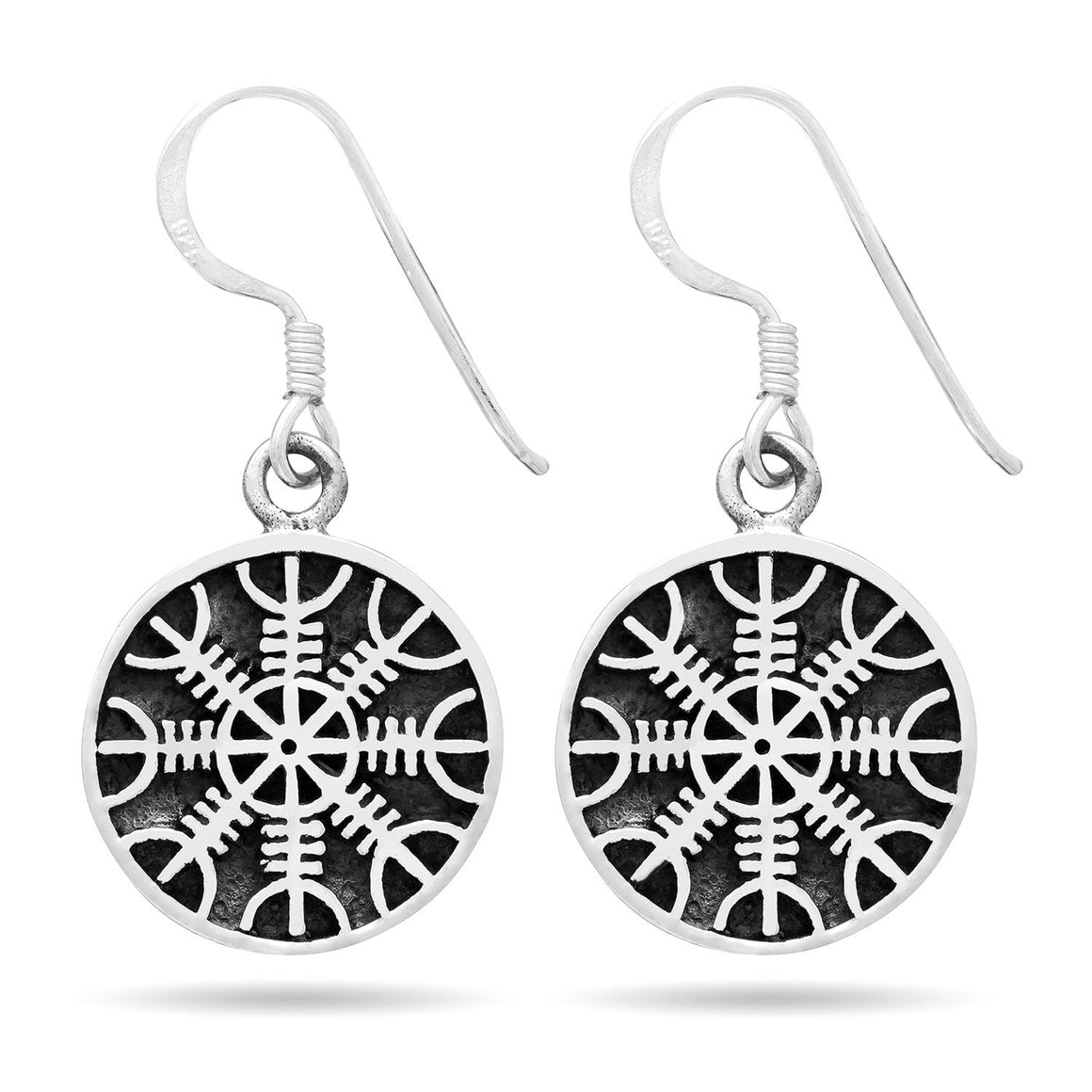 925 Sterling Silver Viking Helm of Awe Earrings Set - SilverMania925