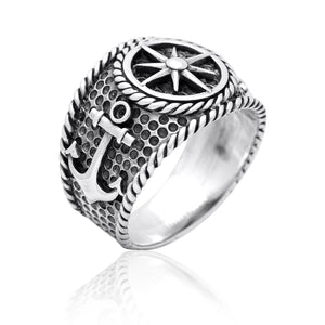925 Sterling Silver Vintage Anchor Nautical Compass Sailor Signet Ring
