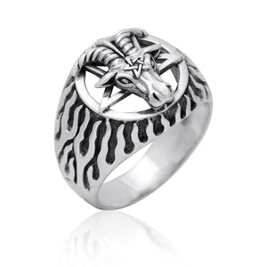Sterling Silver Sigil of Baphomet Pentagram Goat of Mendes Satanic Ring