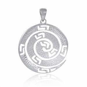 925 Sterling Silver Pink Fire Opal Greek Key Meander Meandros Spiral Luxury Pendant - SilverMania925