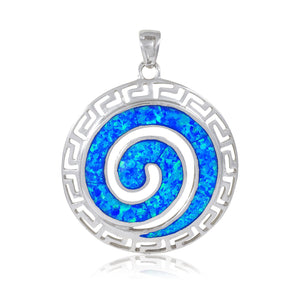 925 Sterling Silver Hawaiian Blue Fire Opal Greek Key Meander Meandros Spiral Pendant - SilverMania925
