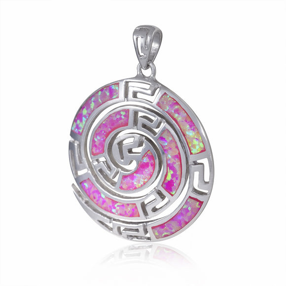 925 Sterling Silver Pink Fire Opal Greek Key Meander Meandros Spiral Luxury Pendant