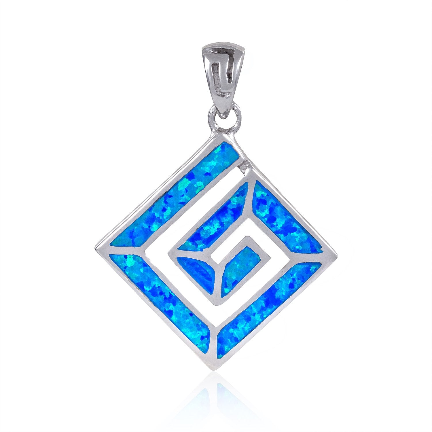 925 Sterling Silver Hawaiian Blue Fire Opal Greek Key Meander Meandros Luxury Pendant