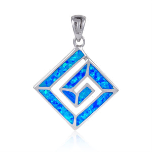 925 Sterling Silver Hawaiian Blue Fire Opal Greek Key Meander Meandros Luxury Pendant - SilverMania925