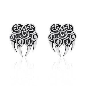 925 Sterling Silver Viking Bear Claw Earrings Set