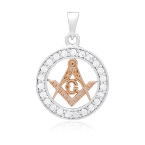 925 Sterling Silver Charm with Rose Gold Masonic Compass and Cubic Zirconia - SilverMania925