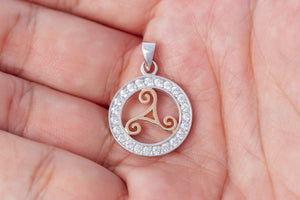 925 Sterling Silver Charm with Rose Gold Triskelion and Cubic Zirconia