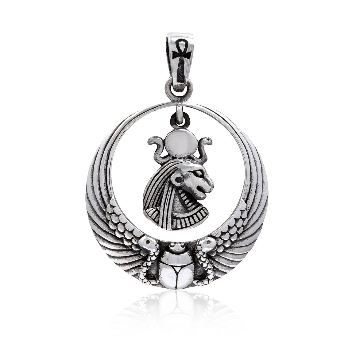 925 Sterling Silver Royal Wadjet Lion Goddess Sekhmet Ankh Scarab Wings Pendant - SilverMania925