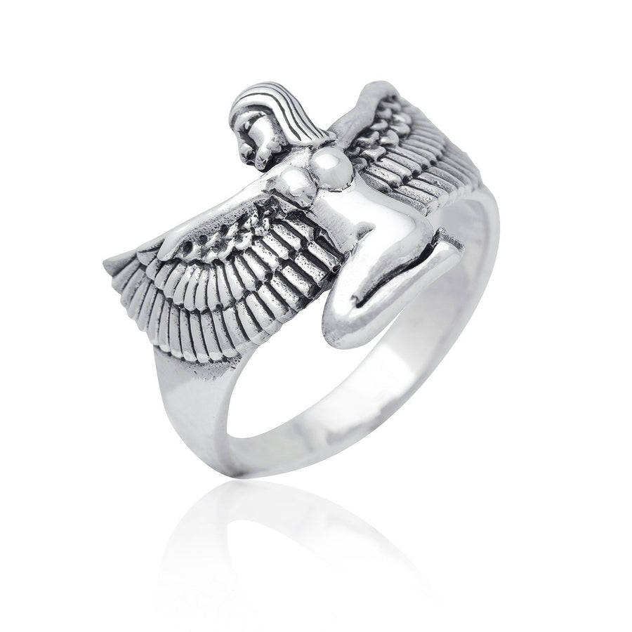 925 Sterling Silver Egyptian Goddess Isis Hathor Sekhmet Ring - SilverMania925