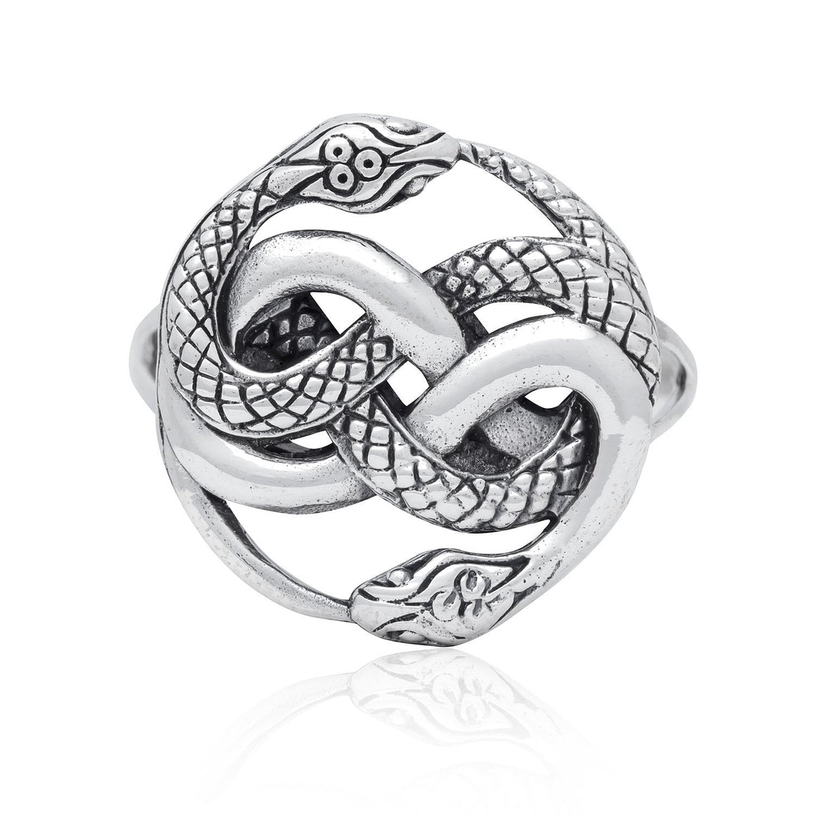 925 Sterling Silver Ouroboros Serpent Snake Infinity Eating Tail Ring - SilverMania925
