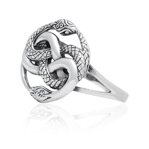 925 Sterling Silver Ouroboros Serpent Snake Infinity Eating Tail Ring