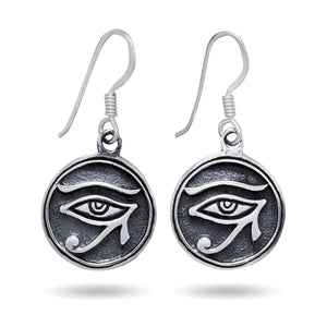 925 Sterling Silver Egyptian Eye of Horus Ra God Udjat Dangle Earrings Set - SilverMania925