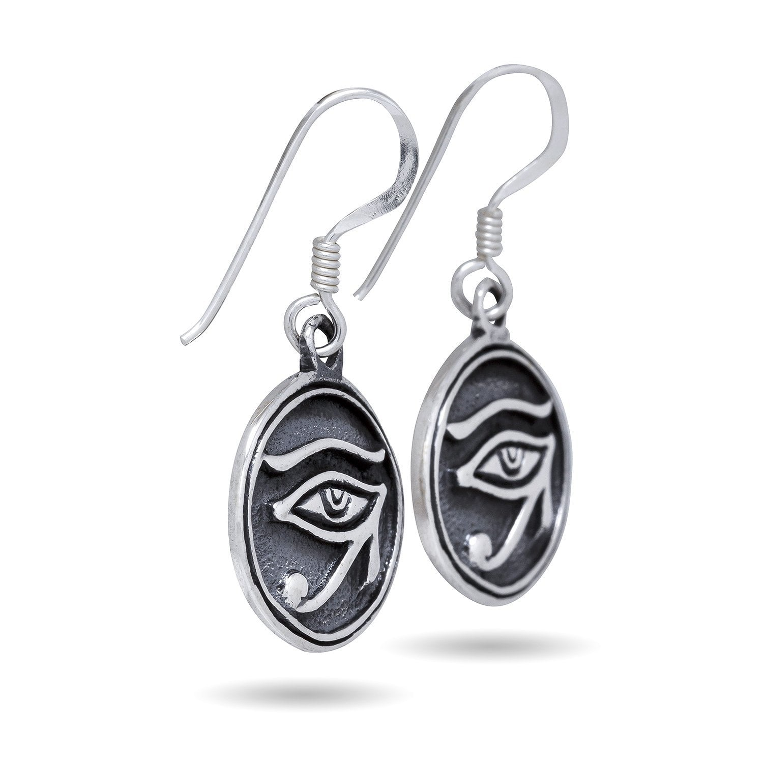 925 Sterling Silver Egyptian Eye of Horus Ra God Udjat Dangle Earrings Set