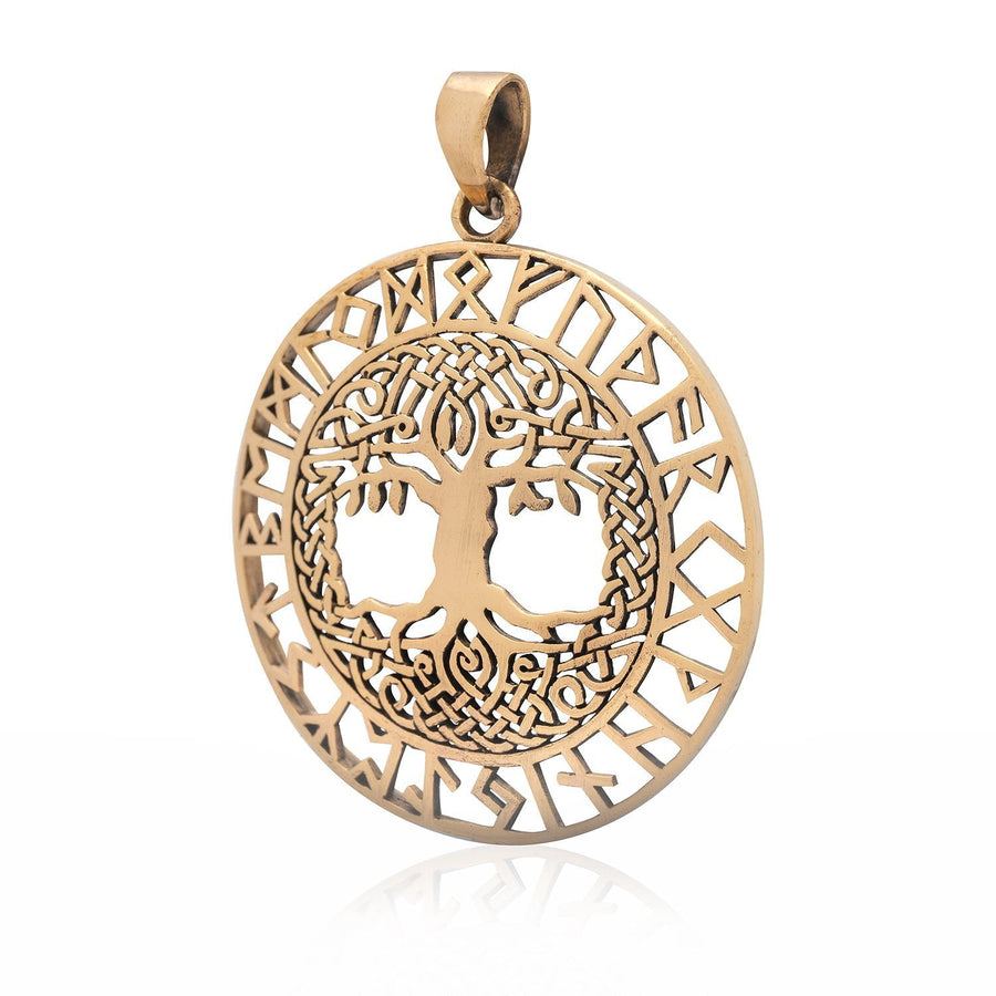 Tree of Life with Runes Bronze Handcrafted Pendant