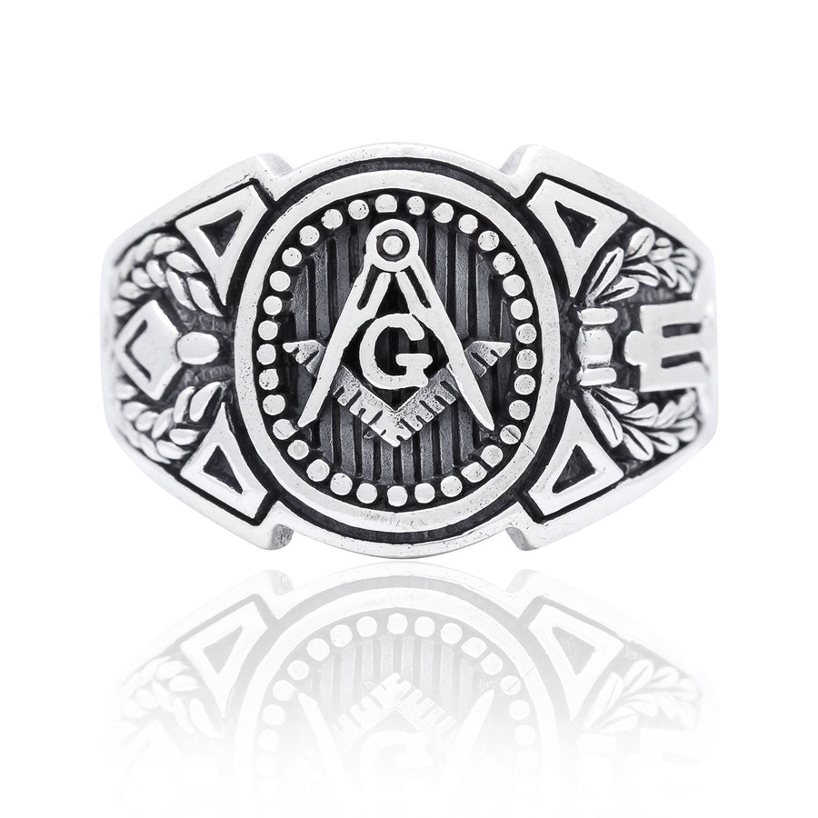 925 Sterling Silver Freemason Masonic Mason Compass Signet Ring - SilverMania925