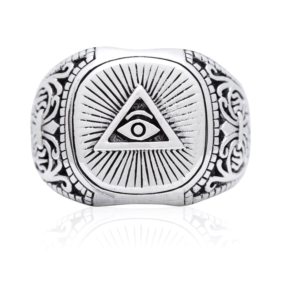 925 Sterling Silver Pyramid Masonic Freemasonry Illuminati Eye of Horus Ring - SilverMania925