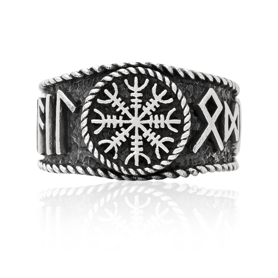 925 Sterling Silver Viking Helm Of Awe Runes Antique Ring - SilverMania925