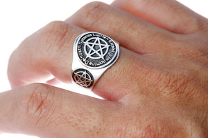 925 Sterling Silver Inverted Pentagram Lucifer Satanic Ring - SilverMania925