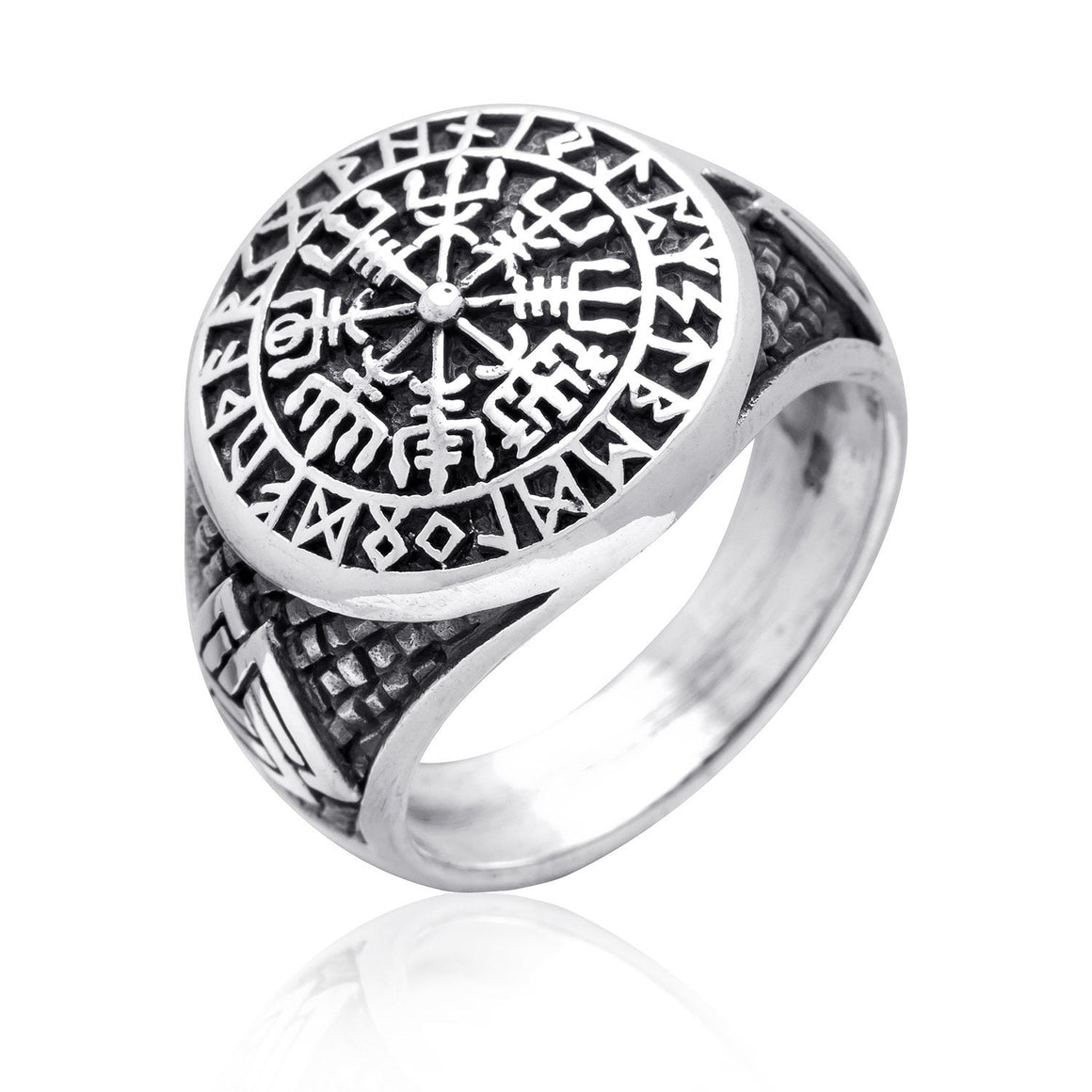 925 Sterling Silver Vegvisir Valknut Runes Viking Jewelry Ring - SilverMania925