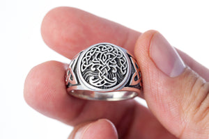 925 Sterling Silver Viking Tree of Life Yggdrasil Celtic Knotwork Pagan Jewelry Ring