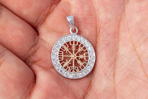 925 Sterling Silver with Rose Gold Plated Viking Vegvisir and Cubic Zirconia Charm
