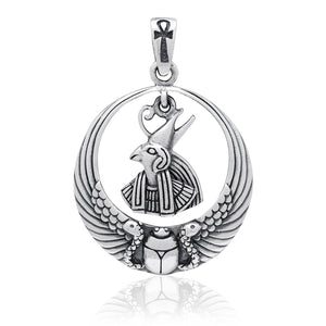 925 Sterling Silver Egyptian Sky God Horus Falcon Ankh Scarab Wings Pendant
