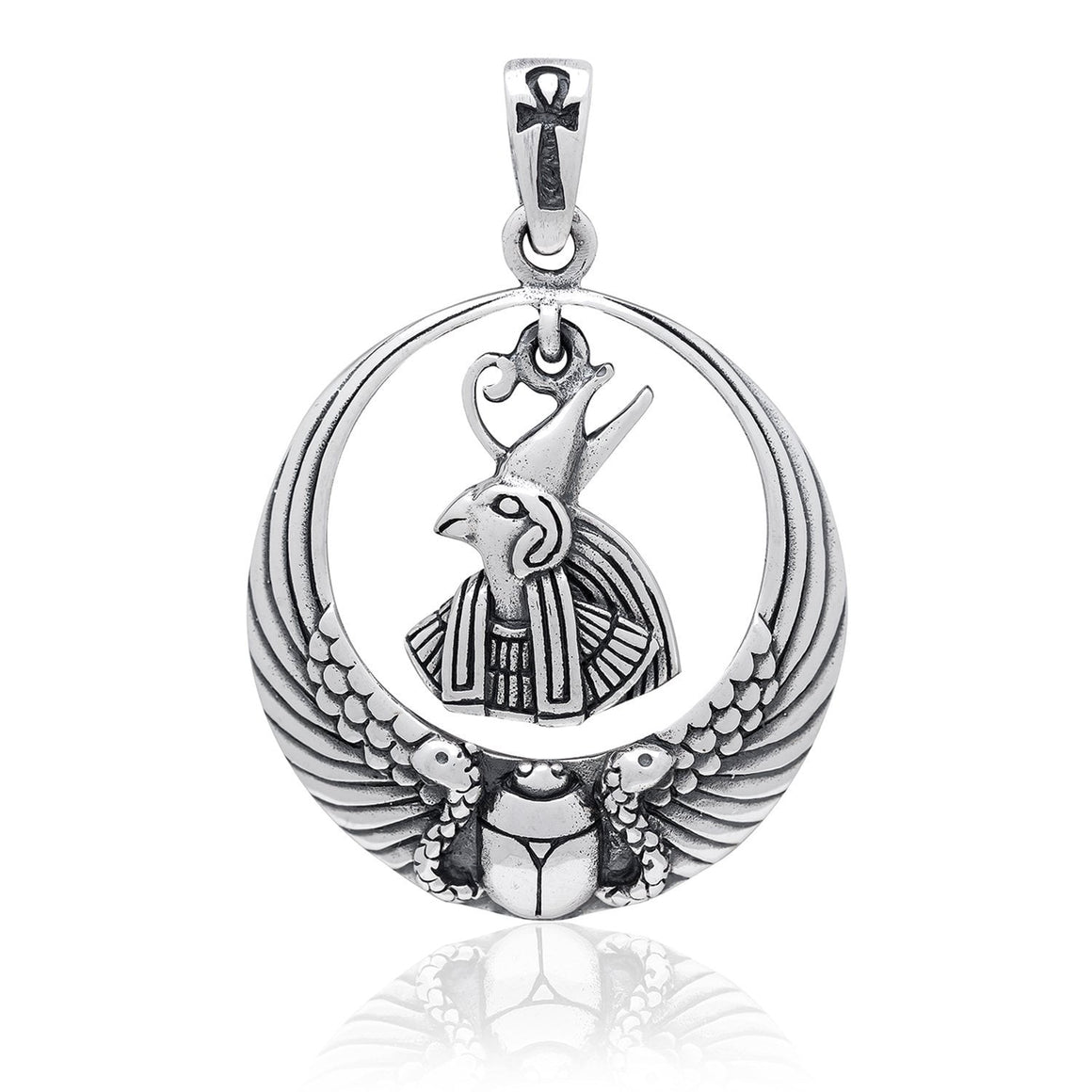 925 Sterling Silver Egyptian Sky God Horus Falcon Ankh Scarab Wings Pendant - SilverMania925