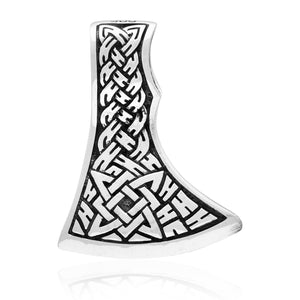 925 Sterling Silver Viking Knotwork Perun Axe Double Sided Pendant