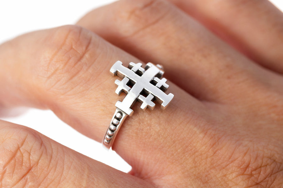 925 Sterling Silver Jerusalem Crusaders Cross Ring - SilverMania925
