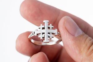 925 Sterling Silver Jerusalem Crusaders Cross Ring