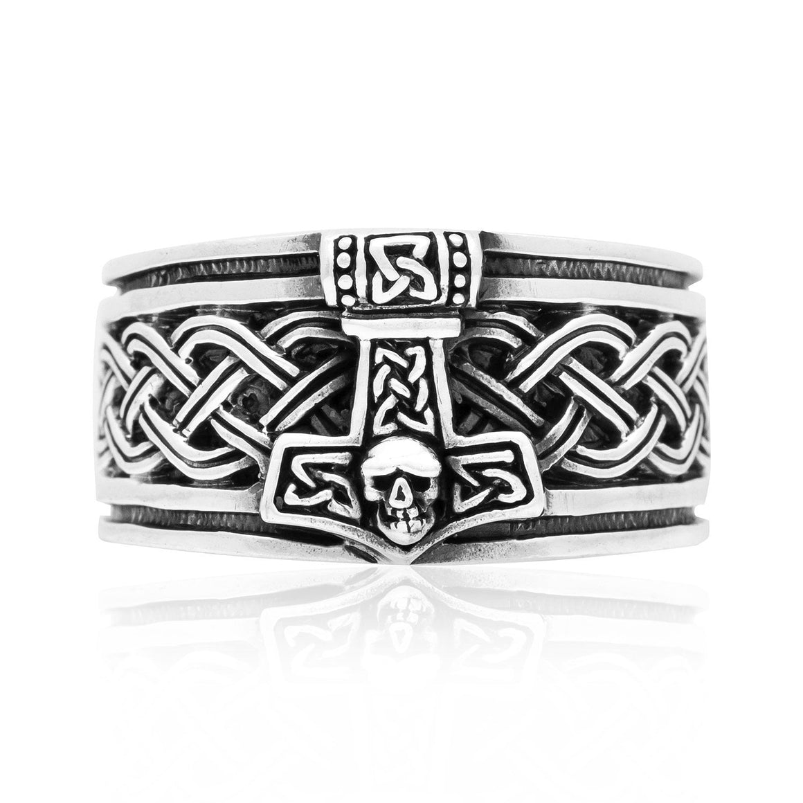 925 Sterling Silver Thor Hammer Band Ring with Celtic Motifs - SilverMania925