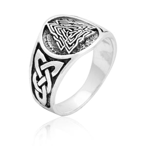 925 Sterling Silver Viking Knotwork Valknut Solid Band Ring