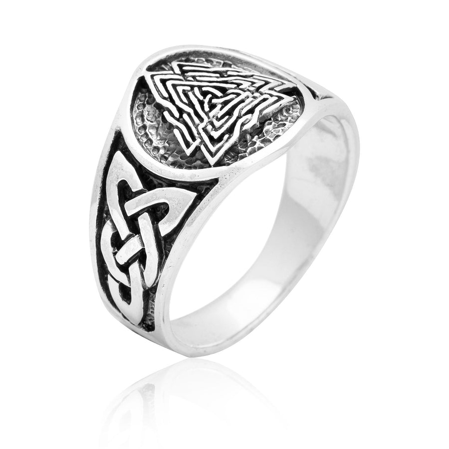 925 Sterling Silver Viking Knotwork Valknut Solid Band Ring - SilverMania925