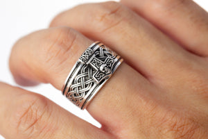 925 Sterling Silver Thor Hammer Band Ring with Celtic Motifs
