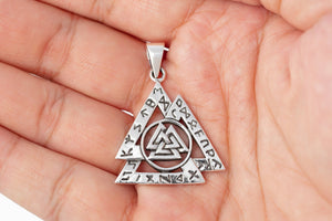 925 Sterling Silver Viking Valknut with Norse Runes Pendant