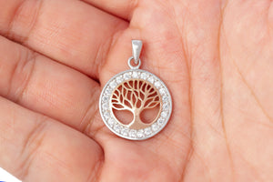 925 Sterling Silver Charm with Rose Gold Viking Yggdrasil and Cubic Zirconia