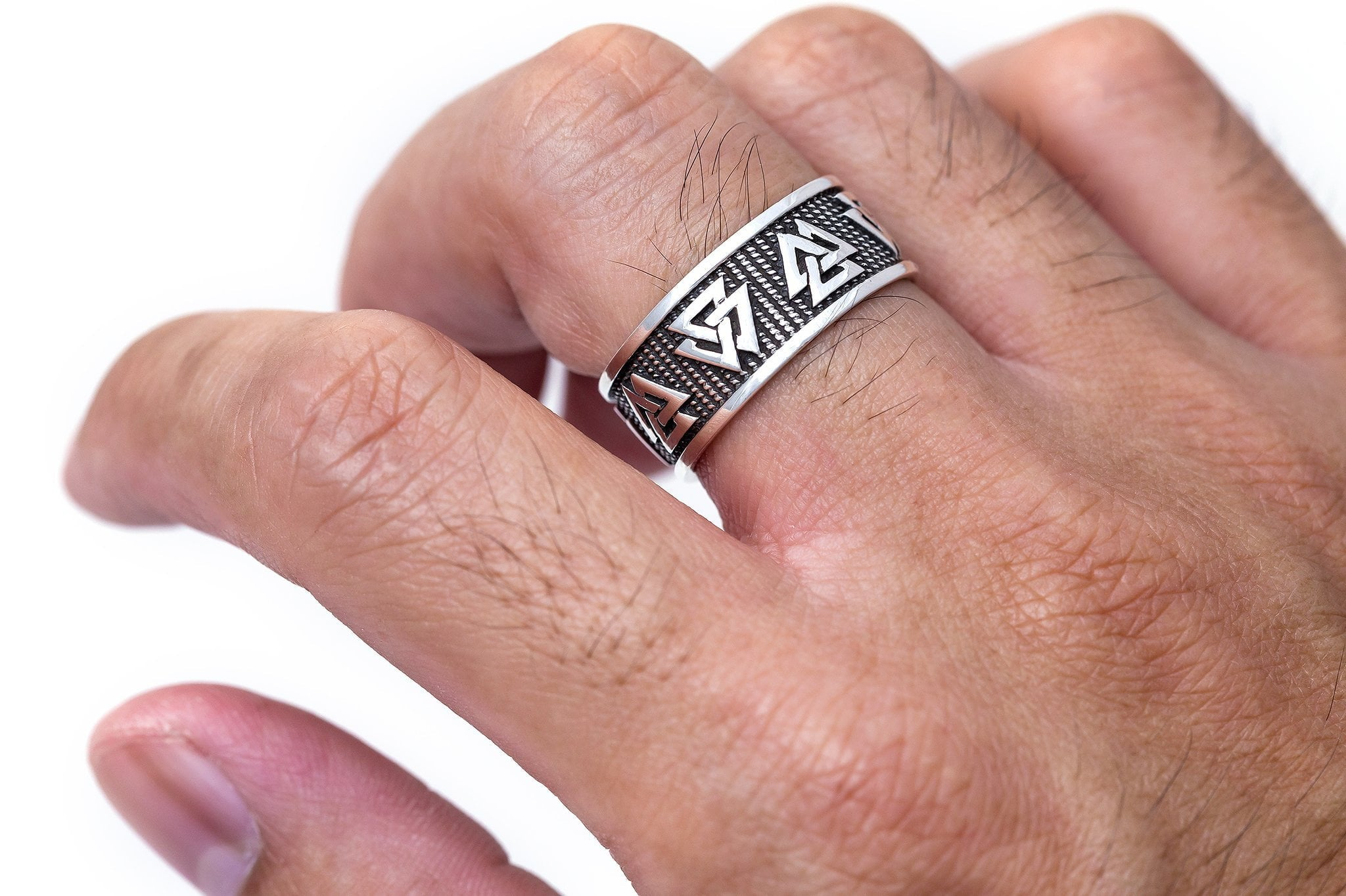 925 Sterling Silver Viking Valknut Norse Jewelry Band Ring ...