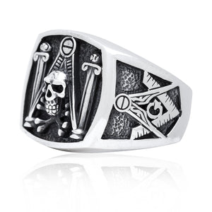 925 Sterling Silver Freemason Freimaurer Masonic Skull & Pillars Freemasonry Ring - SilverMania925