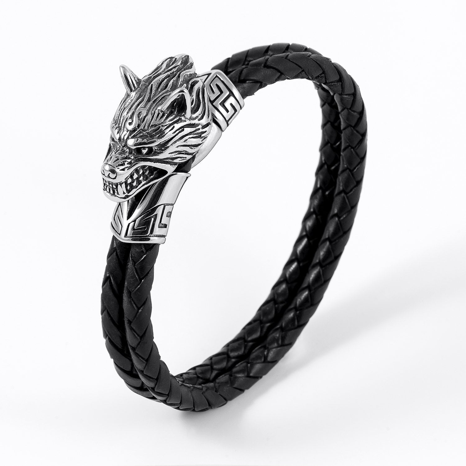 Stainless Steel Viking Wolf Head with Braided Leather Bracelet