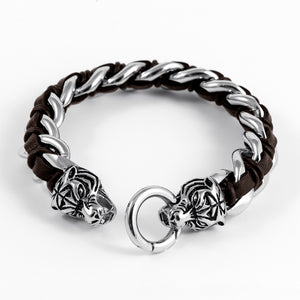 Heavy Stainless Steel Viking Tiger Head with Leather Bracelet
