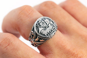 925 Sterling Silver Viking Drakkar Ship Ring