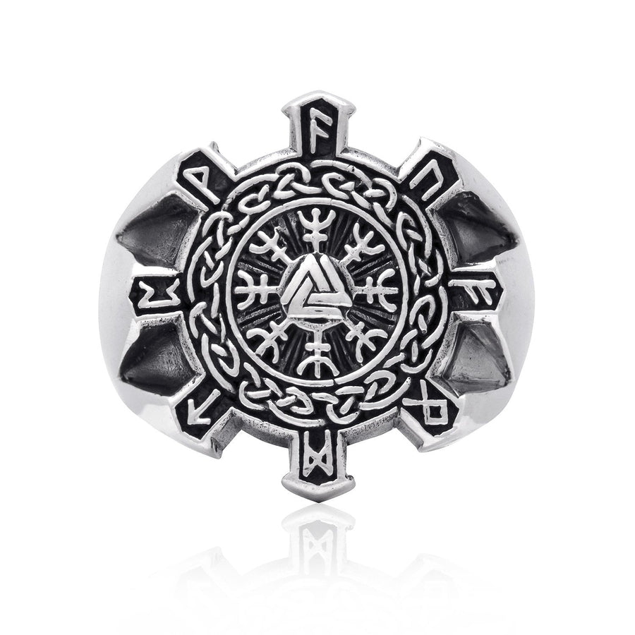925 Sterling Silver Valknut Aegishjalmur Helm of Awe Viking Runes Celtic Ring - SilverMania925