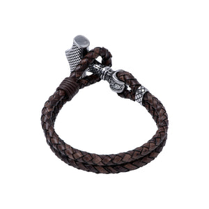 Stainless Steel Viking Mjolnir with Leather Bracelet