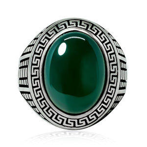 925 Sterling Silver Mens Green Agate Greek Key Meander Patterned Sides Ring